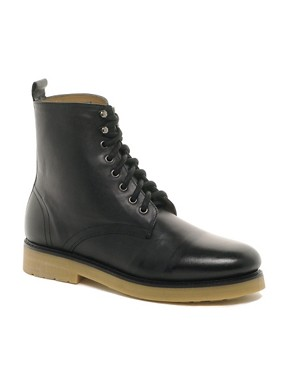 Image 1 ofASOS Leather Boots With Cleated Gum Sole