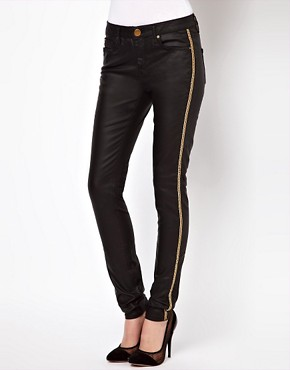 Image 1 ofASOS Waxed Skinny Jeans with Chain Side Embellishment