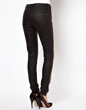 Image 2 ofASOS Waxed Skinny Jeans with Chain Side Embellishment