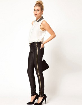 Image 4 ofASOS Waxed Skinny Jeans with Chain Side Embellishment