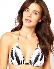 Pieces Gillian Feather Print String Bikini Top