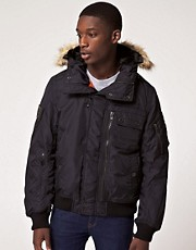 Schott Short Bomber Jacket with Faux Fur Hood