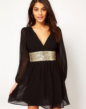 Image 1 ofASOS Skater Dress With Sequin Band
