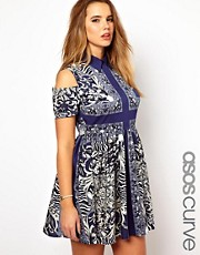 ASOS CURVE Shirt Dress With Cold Shoulder