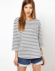 Fred Perry 3/4 Sleeve Breton Striped Top