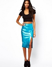 ASOS Leather Pencil Skirt in Metallic