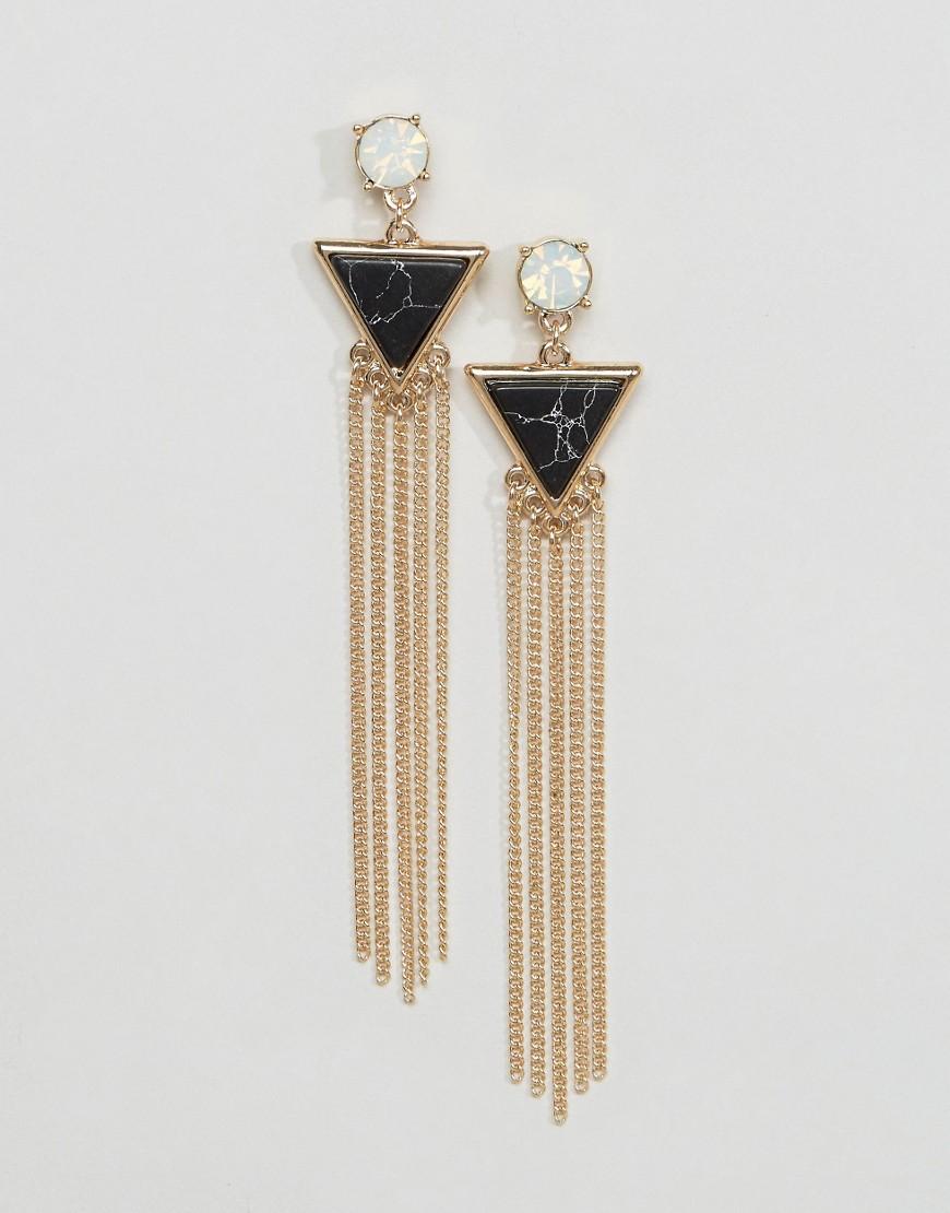 ASOS Semi Precious Triangle Chain Strand Earrings - Black
