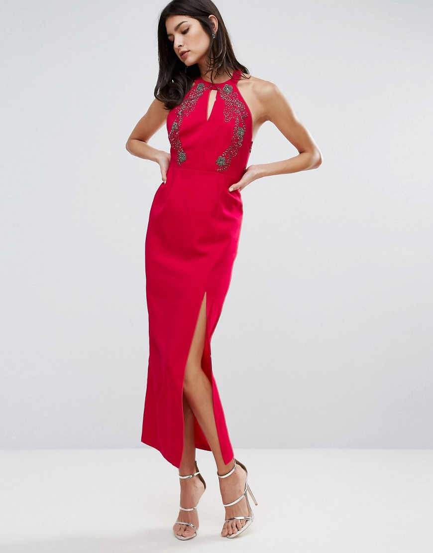 Little Mistress Pencil Dress With Side Split - Pink