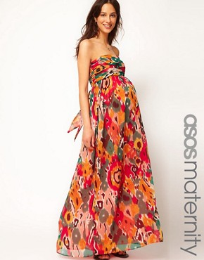 Image 1 ofASOS Maternity Exclusive Bandeau Maxi Dress In Print