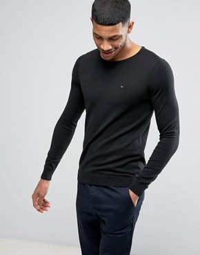Hilfiger Denim Jumper with Crew Neck In Black