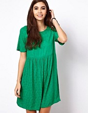 ASOS Smock Dress In Jacquard Tree Texture