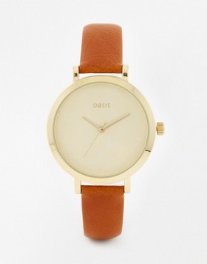 Oasis Floral Etch Dial Tan Leather Watch