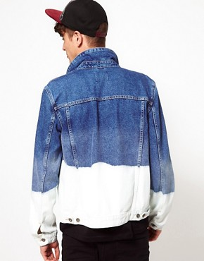 Image 2 of ASOS Denim Jacket With Dip Dye Bleach