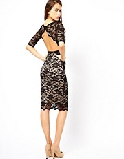 Elise Ryan Open Back Midi Dress in Lace