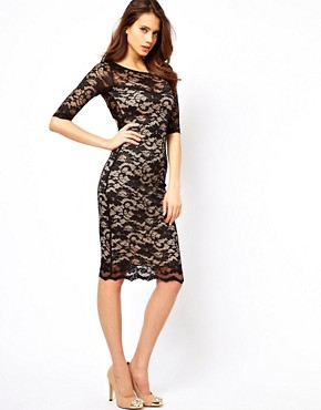 Image 2 ofElise Ryan Open Back Midi Dress in Lace