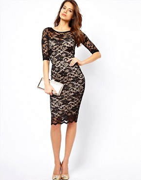Image 4 ofElise Ryan Open Back Midi Dress in Lace