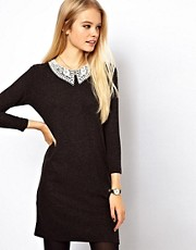 ASOS Knit Dress With Crochet Collar
