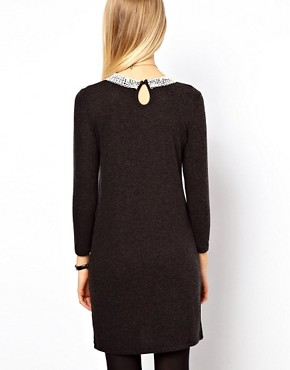 Image 2 ofASOS Knit Dress With Crochet Collar