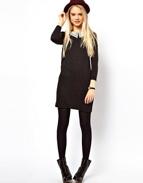 Image 4 ofASOS Knit Dress With Crochet Collar