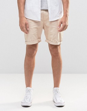ASOS Slim Chino Shorts in Stone