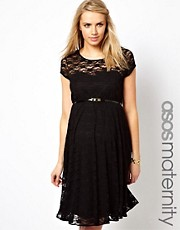 Vestido skater de encaje con cinturn de ASOS Maternity