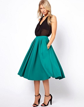 Image 1 ofASOS Full Midi Skirt with Box Pleats