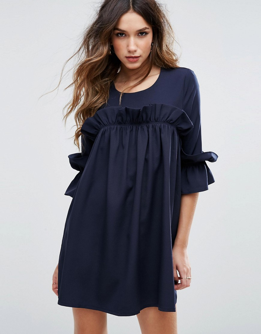 Missguided Frill Detail Smock Dress - Navy