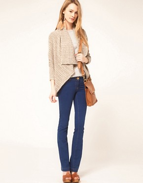 Bild 4 von Free People  Gestreifte Strickjacke mit drapierter Vorderseite