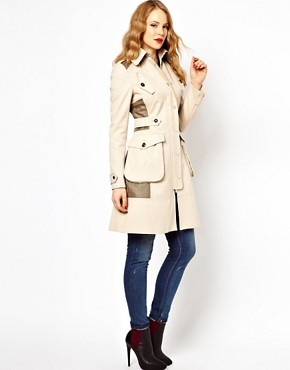 Image 4 ofKaren Millen Trench Coat with Pocket Detailing