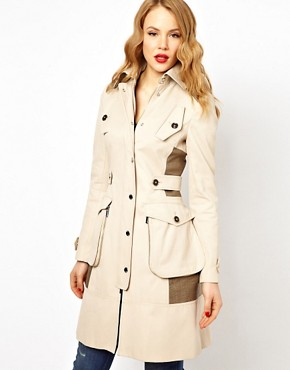 Image 1 ofKaren Millen Trench Coat with Pocket Detailing
