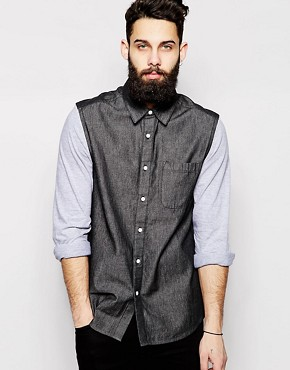 ASOS Denim Shirt In Long Sleeve With Jersey Sleeve And Black Wash