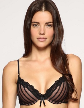 Image 1 ofElle Macpherson Intimates Sheer Ribbons Stripe Padded Bra