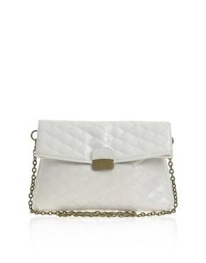 Image 1 ofFrench Connection Patent Quilted Oversized Clutch