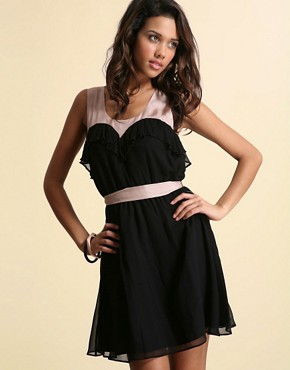 Image 1 ofASOS Silk Sweetheart Neck Dress