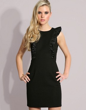 Image 1 ofFrench Connection Ruffle Shoulder Detail Mini Dress