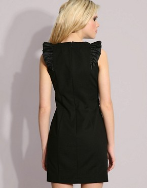 Image 2 ofFrench Connection Ruffle Shoulder Detail Mini Dress