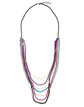 Image 2 ofASOS Long Multi Row Coloured Metal Box Chain Necklace