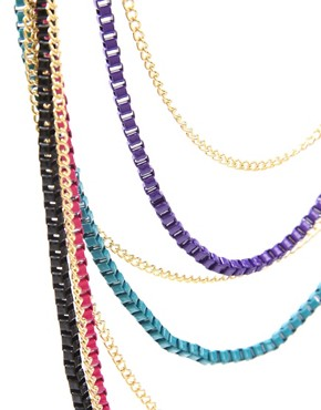 Image 4 ofASOS Long Multi Row Coloured Metal Box Chain Necklace