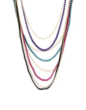 Image 1 ofASOS Long Multi Row Coloured Metal Box Chain Necklace