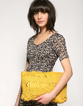 Image 3 ofASOS Premium Leather Macrame Knotted Oversized Clutch Bag