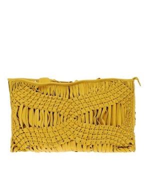 Image 1 ofASOS Premium Leather Macrame Knotted Oversized Clutch Bag