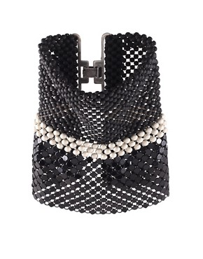 Image 1 ofLaura B Antonella Black &amp; Silver Chainmail Flutter Cuff