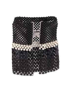 Image 2 ofLaura B Antonella Black &amp; Silver Chainmail Flutter Cuff