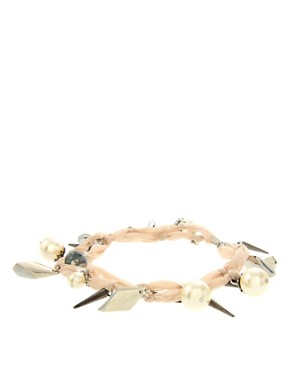 Image 1 ofASOS Multi Strand Chiffon Bracelet With Pearls And Spikes