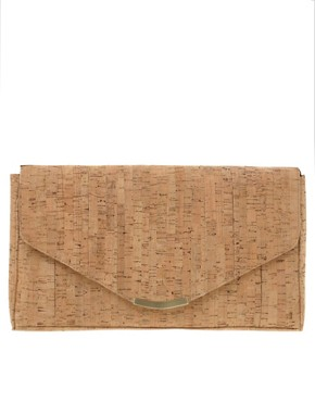Image 1 ofASOS Cork Envelope Clutch With Detachable Shoulder Strap