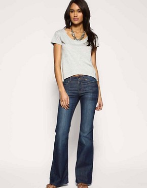 Image 4 ofASOS Rich Indigo High Waist Flare Jeans