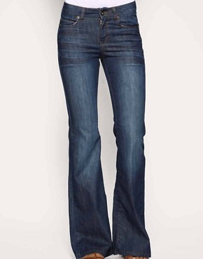 Image 1 ofASOS Rich Indigo High Waist Flare Jeans