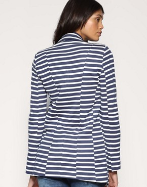 Image 2 ofASOS Stripe Ponti Long Line Blazer
