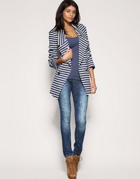 Image 4 ofASOS Stripe Ponti Long Line Blazer