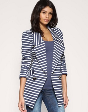 Image 1 ofASOS Stripe Ponti Long Line Blazer